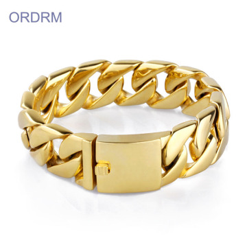 Rostfritt stål Chunky Gold Chain Link Armband