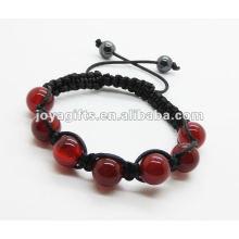 O bracelete artificial novo do weave do shamballa do jade