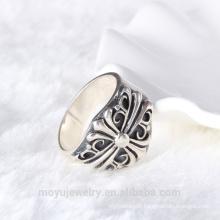 Anneau en anneau de style antique en acier inoxydable 925 anneau de doigt réglable anneaux en argent thai trouvant