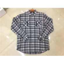 Camisas de cuadros de algodón con doble bolsillo para hombre