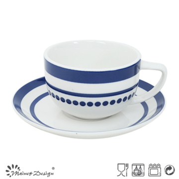 8oz Porcelain Cup and Saucer with Elegant Blue Decal
