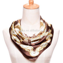 Fashion women print polyester square chains silk satin scarf