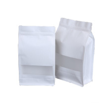 Customized White Kraft Paper Pouch Eight-side Seal Confectionery Food Tea Package Bag