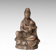 Buddha Bronze Sculpture Kids Avalokitesvara Decor Brass Statue Tpfx-B98/B99