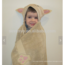 Cat Hooded Towel - tan cat, 100% cotton,Super Soft and Absorbent