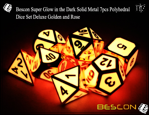 Bescon Super Glow in the Dark Solid Metal 7pcs Polyhedral Dice Set Deluxe Golden and Rose-4