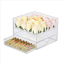 16 Slot Clear Rose Case Acrylic Flower Box with Makeup Drawer Storage Organizer