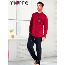 Miorre New 2017 Men's Long Sleeve Button Detailed Pajamas Set