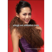 col en fourrure de tibet de couleur marron teint pour veste