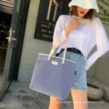 wholesale eco friendly stylish striped hand tote bags classic canvas cotton shopping tote bag