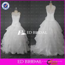 ED Bridal Elegant White Ball Vestido Cascading Ruffle Organza Bridal Dresses With Lace Appliqued 2017