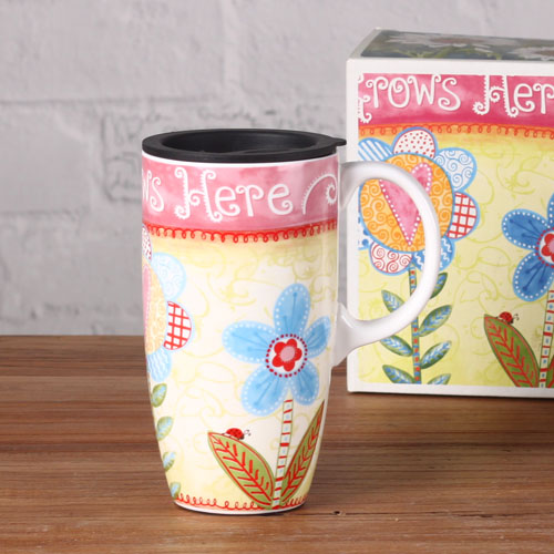 Magnesia latte flower travel mug