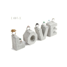 Grey Velvet Alphabet Jewelry Ring Display Stand (RST-GV4-LT)
