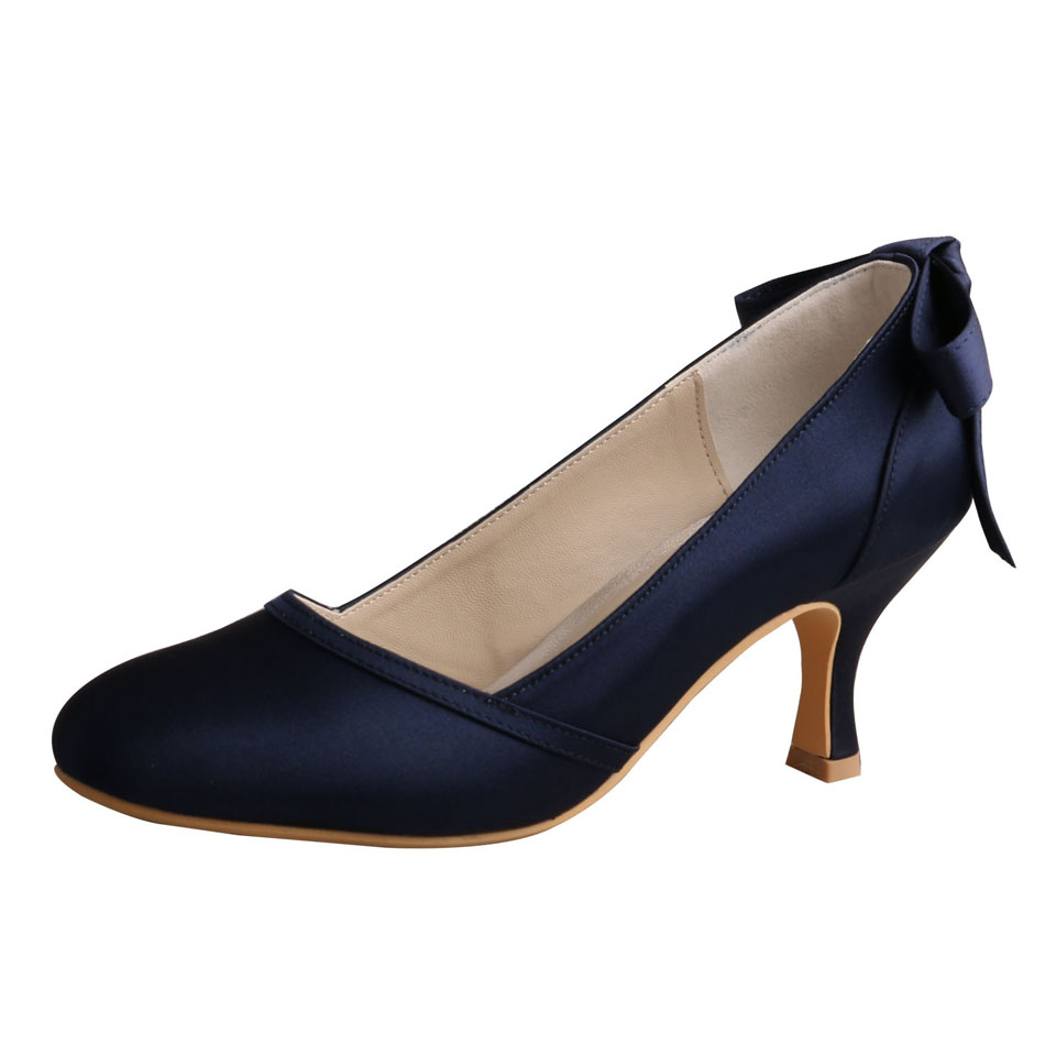 Navy Blue Satin Shoes Wedding