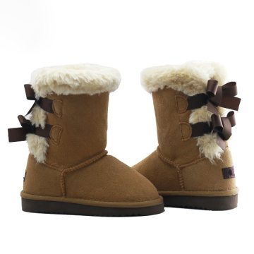 Girls Suede Short Winter Boots with Fur