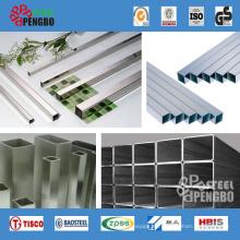 Tubo rectangular de acero inoxidable para decoración