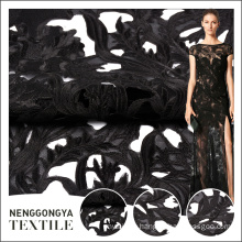 Hot selling elegant black embroidery designs with net fabric