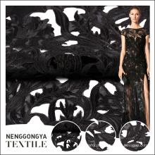 Projetos de bordado preto elegante de venda quente com tecido líquido