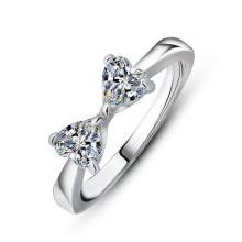 Platino plateado anillo de bodas de las mujeres Bright Zircon