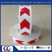 Fita reflexiva de PVC seta vermelha e branca com estrutura de cristal