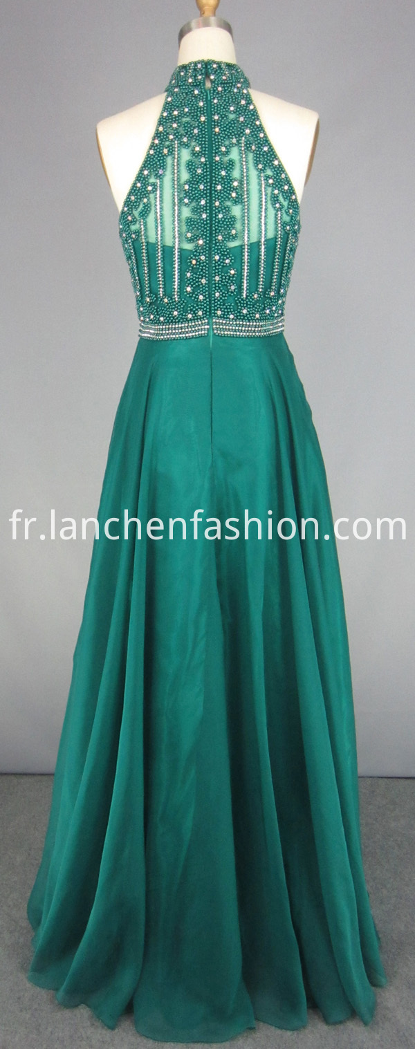 chiffon green maxi dress
