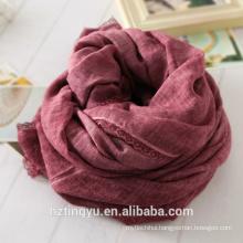 New whosale design Plain lace side cottton hijab scarf