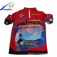 PGTS001 venta al por mayor y OEM UV protección camiseta transpirable poliester desgaste de la pesca para hombre camisas de playa desgaste