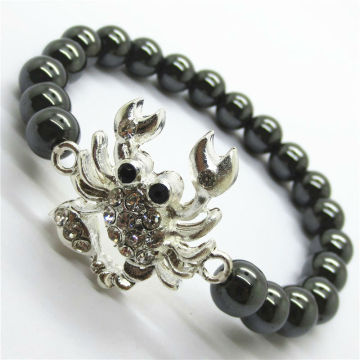 Diamante Flounder Alloy With Magnetic Hematite Round Beads Bracelet