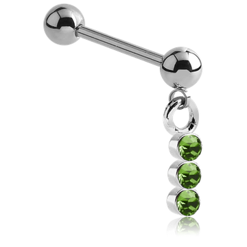 Staright Barbell with Triple-jeweled Charm