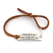 Стильный браслет из коричневой кожи с цепочкой из хлопка с капюшоном Custom Expandable Bracelet