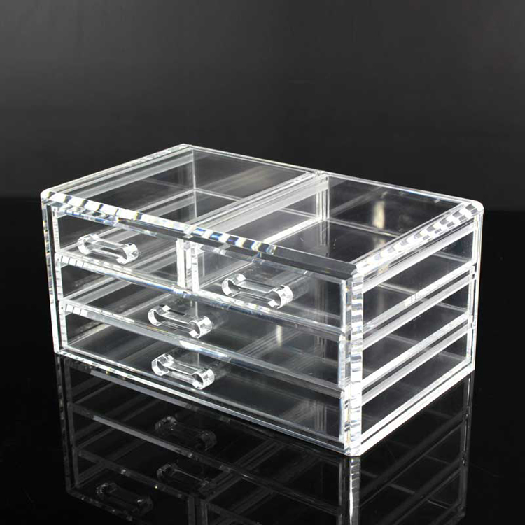 4 Drawer Clear Acrylic Desk Cube Makeup Organizer
