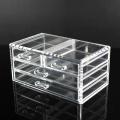 Organisateur de maquillage de cube de bureau en acrylique transparent à 4 tiroirs