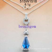 Silver Cubic Zirconia Necklace Jewelry (51SW1518)