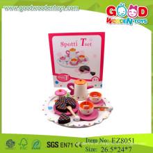 Conjunto de chá de madeira brinquedos chá jogo conjunto brinquedos conjunto de chá jogar brinquedos para crianças