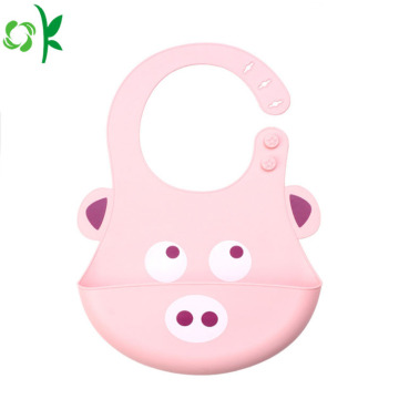 FDA Cartoon Animal Silicone Baby Bib för barn