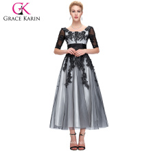 Grace Karin Hot Sell Black Lace Mère de la mariée Robes avec manches CL6051-1