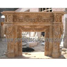 Mantel de mármore da chaminé para a chaminé de pedra (QY-LS224)