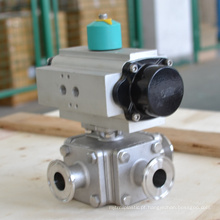 high quality POV 3 way all PTFE stranded pneumatic operated ball valve