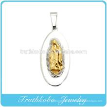 Colgante de fundición de alta calidad Precio de fábrica Venta al por mayor Custom Metal Casting Oro Virgen María Acero inoxidable Colgante de joyería