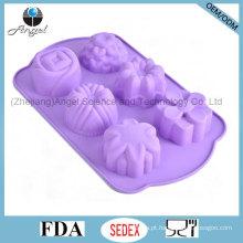 6 flores de cozimento ferramenta molde de bolo de silicone para o feriado de Natal Sc49