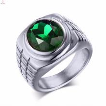 Лучшие Продажи Нержавеющей Стали Один Зеленый Камень Кольца Для Женщин