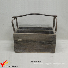 Урожай корзины корзины корзины дерева с металлической ручкой