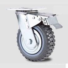 Heavy Duty Type New Double Pedal Brake PU Wheel Caster (KHX3-H4-A)