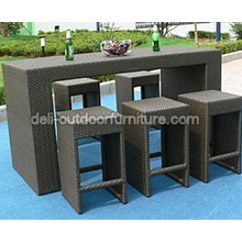 PE Rattan Outdoor Patio Bar Stools Set Furniture