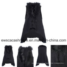 Lady Rabbit Hair Decoration No Sleeves Cashmere Knitwear
