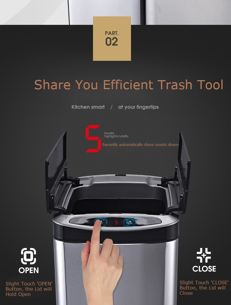 Efficient automatic sensor intelligent garbage bin