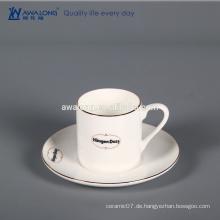 Weißes kundenspezifisches Logo-Knochen-China-Spalte-feine keramische Geschenkschale und -untertasse