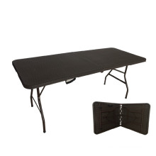 6FT Popular Rattan Design Work of Plastic Folding Tables for Leisure Time Use
