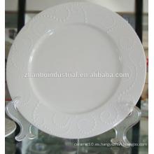 Placa plana de porcelana blanca