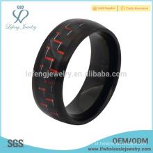 Casamento banhado a preto e vermelho de fibra de carbono inlay titânio anel para os homens